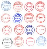 Circular postage stamps. From the world Royalty Free Stock Photos