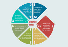 Circular progress steps. Diagram, isolated, cross, remote Royalty Free Stock Photos
