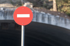 Circular prohibited road sign close up. Before bridge Royalty Free Stock Photography