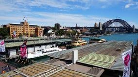 Circular Quay Ferry Terminal and the Sydney Harbour Bridge Stock Photo