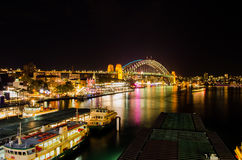 Circular Quay at night during vivid fesitval Royalty Free Stock Photo