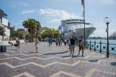 Circular Quay: Overseas Passenger Terminal. SYDNEY,NSW,AUSTRALIA-NOVEMBER 20,2016: Overseas Passenger Terminal at the Circular Quay with tourists, waterfront and Stock Image