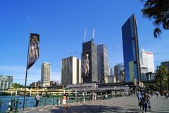 Circular Quay Precinct and City Buildings, Sydney, Australia. Pedestrian mall beside Circular Quay, Sydney harbour, NSW, Australia, with central business royalty free stock photo