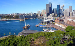 Circular Quay & Rocks Aerial Panorama, Sydney Australia. Circular Quay, harbour & Rocks district aerial panorama from the Harbour Bridge. The city is in the royalty free stock photography