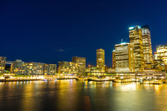 Circular Quay and  Sydney Business District Centre. Circular Quay,  Sydney Business District Centre, train and ferry station at night, with illuminated Royalty Free Stock Photos