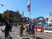Circular quay and sydney harbour bridge of australia Stock Photos