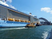 Cruise Ship, Ferry and Sydney Harbour Bridge, Australia Stock Photography
