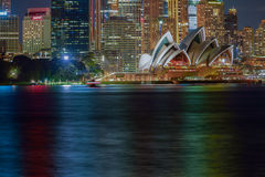 Circular Quay and Sydney Opera House. At night,Sydney,NSW,Australia.Sep,12,2016  The Sydney Opera House,Sydney,NSW,Australia.It was designed by Danish architect Stock Image