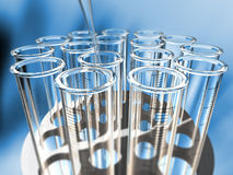 Circular rack of  test tubes Stock Photo