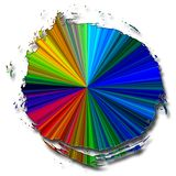 Circular radiating colors. Square white background with circular object and bright radiating colors Stock Images