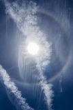 The Circular Rainbow with double contrail Royalty Free Stock Photos
