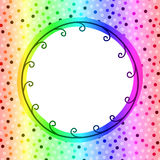 Circular rainbow frame invitation card Stock Photos