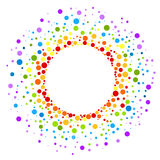 Circular rainbow spots round frame border. Paint spots in a rainbow sun shape round border frame with balls vector illustration