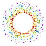 Circular rainbow spots round frame border Stock Images