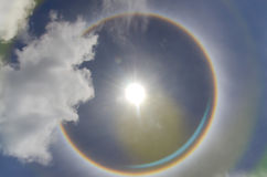 circular rainbow  sun halo occurring due to ice crystal Stock Photos