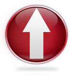 Circular red upload button. With directional arrow, isolated on white background Royalty Free Stock Photo