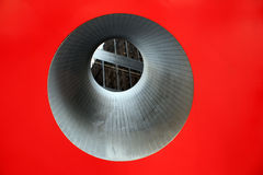 Circular red window to building in the city Royalty Free Stock Image