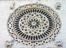 Circular Rose Window at Entrance of Papal Basilica of St. Francis of Assisi Royalty Free Stock Images