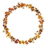 Circular round border in autumn leaf style, seasonal, isolated on white. Royalty Free Stock Photos