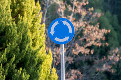 Circular roundabout metal sign. One circular roundabout metal sign Stock Photos
