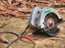 Circular saw. With red tape on its damage wire Royalty Free Stock Images