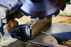 Circular saw. Closeup of a circular saw royalty free stock photos