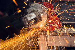 Circular saw in action Stock Photo