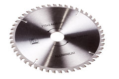Circular saw blade. For aluminum cutting isolated on a white background Stock Image