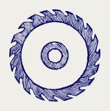Circular saw blade. Doodle style stock illustration