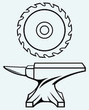 Circular saw blade and anvil. Image isolated on blue background vector illustration
