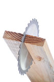 Circular Saw Blade in Board Stock Images