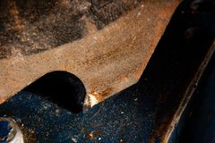 Circular saw blade with corrosion. Is macro royalty free stock photo