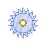 Circular saw blade icon, cartoon style Royalty Free Stock Photo