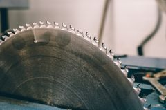 Circular saw blade machine for wood work Stock Image