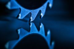Circular Saw Blade. With reflection in blue light Stock Photos