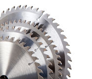 Circular saw blade for wood with hard alloy insertions on a white background Stock Photo