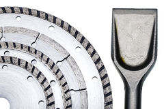 Circular Saw blades and nozzle for the puncher in Royalty Free Stock Image