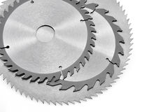Circular saw blades for wood isolated Royalty Free Stock Photography