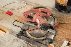 Circular Saw. Carpenter tools sawdust. Circular Saw royalty free stock photo