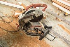 Circular Saw. Carpenter tools sawdust. Circular Saw royalty free stock images
