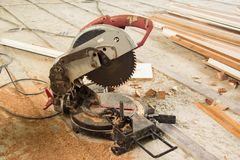Circular Saw. Carpenter tools sawdust. Circular Saw stock images