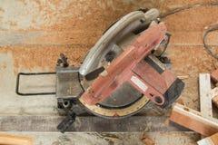 Circular Saw. Carpenter tools sawdust. Circular Saw stock photography