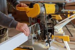 Circular Saw. Carpenter Using Circular Saw for wood. Wood cuts circular saw Stock Photos