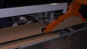 Circular Saw. Carpenter Using Circular Saw for wood. Close up electric saw to sawing wood board. 4K stock footage