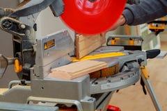 Circular Saw. Carpenter Using   for wood Stock Photography