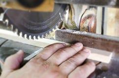 Circular Saw. Carpenter Using  for wood Stock Photo