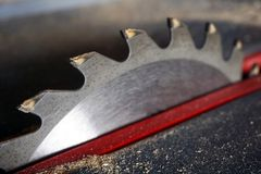Circular saw. In carpentry workshop stock images