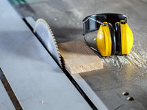 Circular saw in carpentry workshop Stock Images