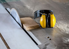 Circular saw in carpentry workshop Royalty Free Stock Photography