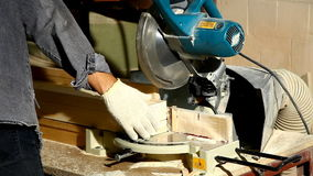 Circular saw cut a part of wood detail stock footage